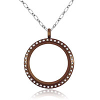 Necklace & Pendants - fashion charm coffee birthstone crystal medium memory living locket necklace pendant Image.
