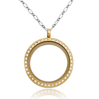 Necklace & Pendants - golden crystals floating memory living locket charms chains pendant necklace Image.