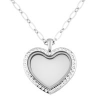 Necklace & Pendants - silver p crystal heart shape living in memory locket chains pendant neckalce Image.