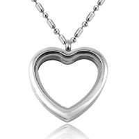 Necklace & Pendants - silver tone heart shape love living locket medium size chains charm necklace pendant Image.