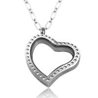 Necklace & Pendants - new heart love living locket birthstone crystal charm chain pendant neckalce Image.