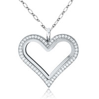 Necklace & Pendants - floating living lockets heart birthstones crystals chains pendants necklaces Image.