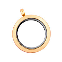 KSEB SHEB Items - golden tone round pure face memory locket fit floating charms Image.