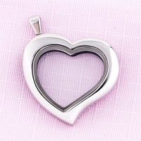 KSEB SHEB Items - heart shaped pure face silver tone memory locket fit floating charms Image.