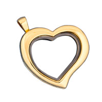 KSEB SHEB Items - heart shaped pure face golden tone memory locket fit floating charms Image.