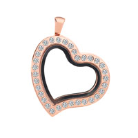KSEB SHEB Items - heart shaped with clear crystal rose gold memory locket fit floating charms Image.
