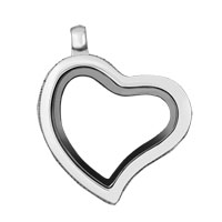 KSEB SHEB Items - heart with half clear crystal cz silver tone memory locket fit floating charms Image.