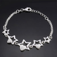 Bracelets - fashion sterling silver stars hearts chain charm bracelet bangle womens girl Image.