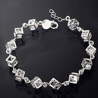relation - sterling silver cube zircon clear crystal sisters friendship charms bracelet Image.