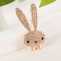 Vintage Rhinestone Crystal Cute Gold Big Ears Rabbit Animal Brooch Pin Women
