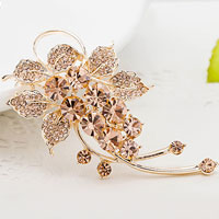 Fashion Jewelry Yellow Rhinestone Crystal Petal Flower Brooch Pin