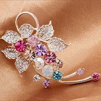 Fashion Jewelry Colorful Rhinestone Crystal Petal Flower Brooch Pin