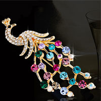 Peafowl Peacock Bird Brooch Broach Pin Colorful Rhinestone Crystal