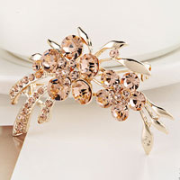 New Clothes Ornament Rhinestone D?? Cor Gold Metal Yellow Flower Brooch Pin