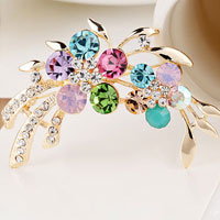 New Clothes Ornament Rhinestone D?? Cor Gold Metal Colorful Flower Brooch Pin