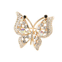 Women Filigree Vintage Winged Butterfly White Crystal Rhinestone