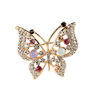 Filigree Vintage Winged Butterfly Crystal Rhinestone Pendant Brooch