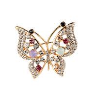 Filigree Vintage Winged Butterfly Crystal Rhinestone Pendant Brooch