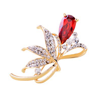 Womens Red Rhinestone Crystal Gold Floral Flower Brooch Pin