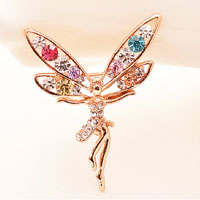 Vintage Winged Dancing Angel Rhinestone Crystal Brooch Pin Animal