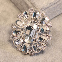 New Vintage Floral Flower Drop Brooch Pin White Rhinestone Crystal Womens