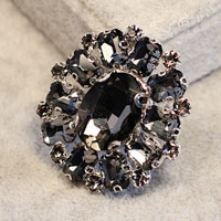 New Vintage Floral Flower Drop Brooch Pin Gray Rhinestone Crystal Womens