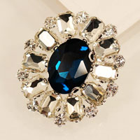 New Vintage Floral Flower Drop Brooch Pin Blue Rhinestone Crystal Womens