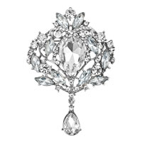 New Clear Rhinestone Crystal Crown Flower Bridal Wedding Favor Gift Brooch Pin