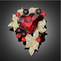 New Arrivals - heart rhinestone crystal flower wedding bridal bouquet flower leaf brooch pin red Image.