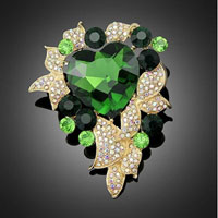 Heart Rhinestone Crystal Flower Wedding Bridal Bouquet Flower Leaf Brooch Pin Green