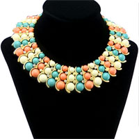 Necklace & Pendants - hot new luxury turquoise chunky multi color bubble bead statement necklace pendant Image.