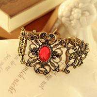 Bracelets - new red oval crystal bronze brass filigree flower bangle bracelet Image.