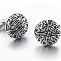 KSEB SHEB Items - cuff link antique pattern cross round cufflinks for men' s suit shirt Image.