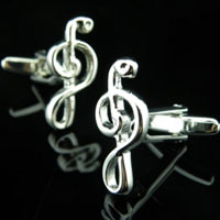 KSEB SHEB Items - cuff links music note rhodium plated cufflinks for mens french shirt Image.