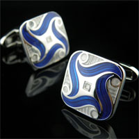 KSEB SHEB Items - cuff link enamel blue square rhodium plated cufflinks for men' s suit Image.