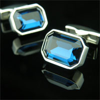 KSEB SHEB Items - cuff link sky blue gemstone crystal cufflinks for men' s french shirt Image.