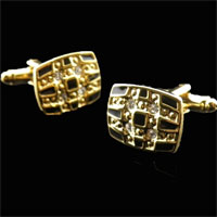KSEB SHEB Items - gold plated clear crystal enamel black rectangle cufflinks for men Image.
