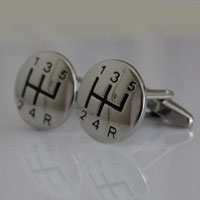 KSEB SHEB Items - rhodium plated deluxe cufflinks racing car gear stick men' s jewelry Image.