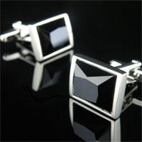 KSEB SHEB Items - cuff links black crystal enamel rhodium plated men' s cufflinks Image.