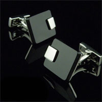 KSEB SHEB Items - cuff link black crystal agate rhodium plated men' s cufflink for suit Image.