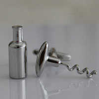 KSEB SHEB Items - red wine bottle corkscrew silver tone cufflinks for men' s suit Image.