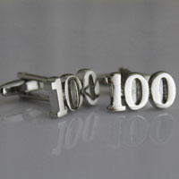 KSEB SHEB Items - novelty rhodium plated number 100  cufflinks for men' s french shirt Image.