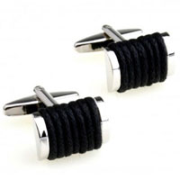 KSEB SHEB Items - cuff links black braided rope rectangle cufflinks for men' s suit Image.