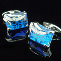 KSEB SHEB Items - cuff links blue crystal rectangle cufflinks for men' s french shirt Image.