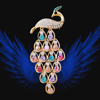Fashion Gold Tone Peafowl Peacock Pin Brooch Multicolor Round Crystal Womens