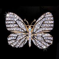Fashion Gold Tone Crown Wedding Pin Brooch White Rhinestone Crystal Womens