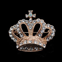 Vintage Fashion Gold Tone Crown Pin Brooch White Rhinestone Crystal Womens