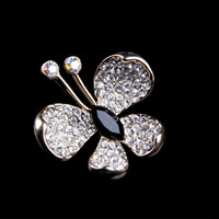 Silver Tone Clear Fine Austrian Rhinestone Crystal Butterfly Brooches Pins
