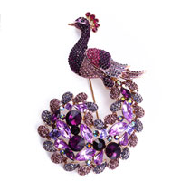 New Arrivals - fashion amethyst purple crystal beads peafowl peacock pin &  brooches pendant Image.