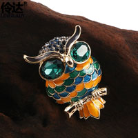 Gold Tone Vintage Green Round Crystal Eyes Owl Animal Brooches Pin Womens